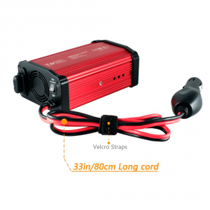 Foval Power Inverter 300W DC 12V to 110V AC Converter with 4.8A Dual USB Car Charger Black