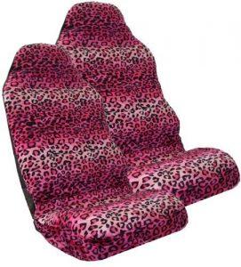 Safari PINK Leopard Print Car High Back Seat Covers