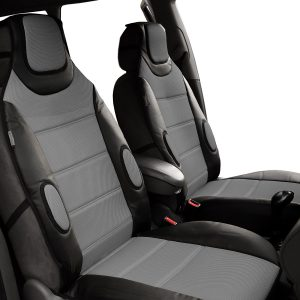 FH Group PU207GRAYBLACK102 Leatherette Car Seat Cushions Airbag Compatible