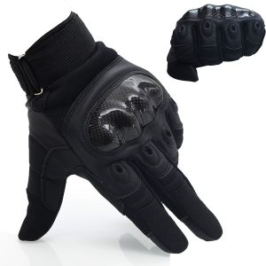 OMGAI Upgraded Men's Full Finger Motorcycle Gloves Tech Touch Gloves of PU Leather
